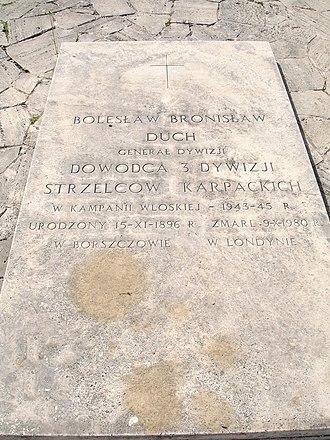 Bolesław Bronisław Duch - Duch's gravestone, Polish War Cemetery, Monte Cassino, Italy