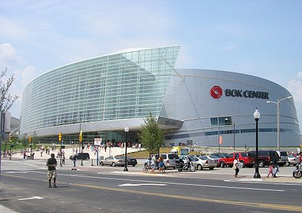 The centerpiece of the Vision 2025 projects, the BOK Center, opened in August 2008. BOK Center faccade.JPG