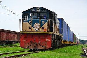 Bangladesh Railway Class 2600 - BR 2609 with container train at Akhaura Junction