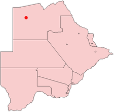 Location of Gumare in Botswana