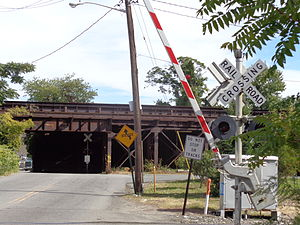 Babbitt, North Bergen - View west to NYSW and Northern Branch at grade crossings and West Shore viaduct