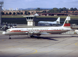 Balkan Bulgarian Airlines Il-18 LZ-BEK LBG September 1974.png