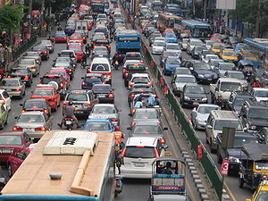 A traffic jam in Bangkok