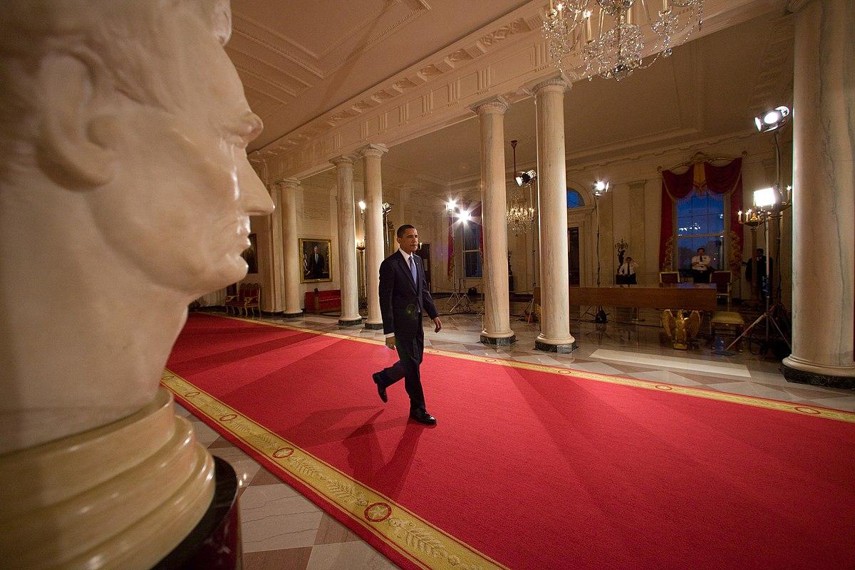 Barack Obama crossing the Cross Hall.jpg