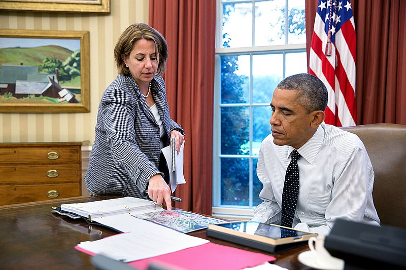 Barack Obama is briefed by Lisa Monaco, 2014.jpg