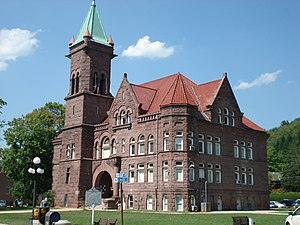 Brownstone - The Barbour County Courthouse (1903–05) in Philippi, West Virginia, is faced entirely in Hummelstown brownstone