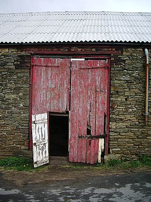 Wicket gate - A wicket gate in a barn door.