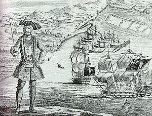Ouidah - Pirate Bartholomew Roberts at Ouidah, with his ship and captured merchantmen in the background