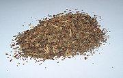 Dried basil leaves.