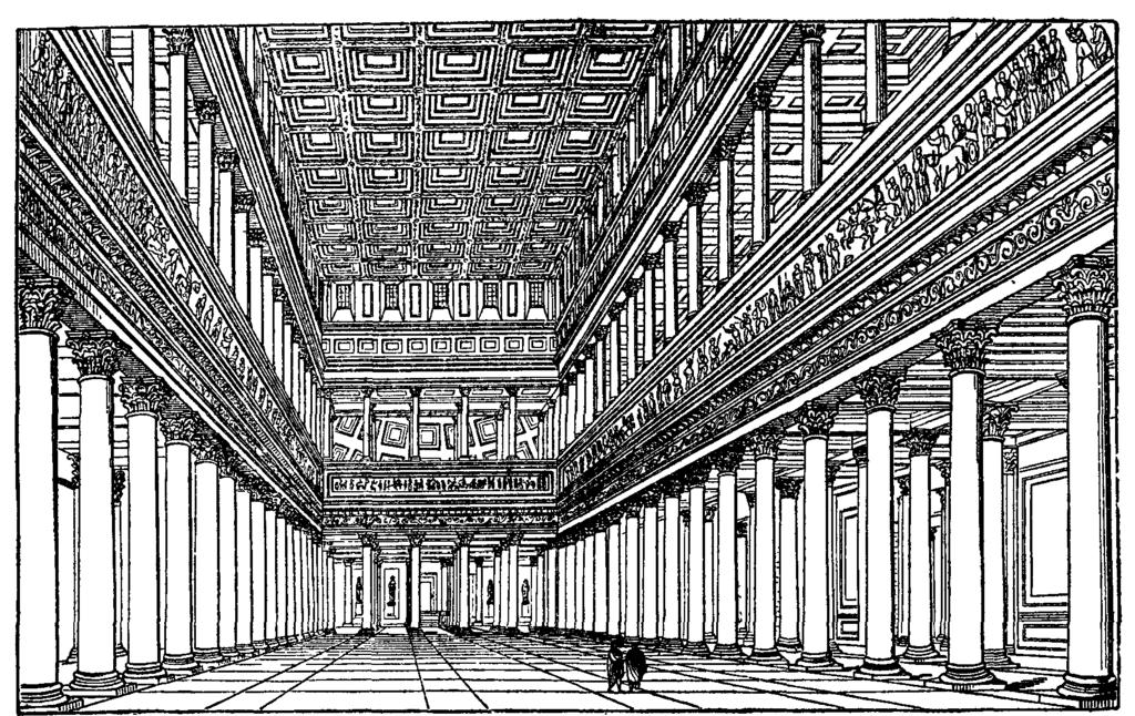Reconstitution de l'intérieur de la basilique de Trajan (Basilica Ulpia) à Rome.