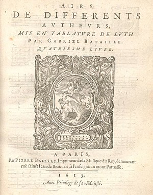 Gabriel Bataille - Title page of the IVe livre d'airs mis en tabulature de luth (1613).