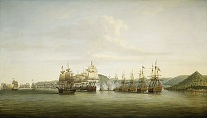 Capture of St. Lucia - December 15, 1778. The 12 French ships of Estaing (left) attacking seven English ships of Admiral Barrington (right).
