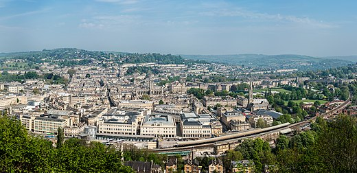 View over Bath city centre from Alexandra Park Bath, Somerset Panorama - April 2011.jpg