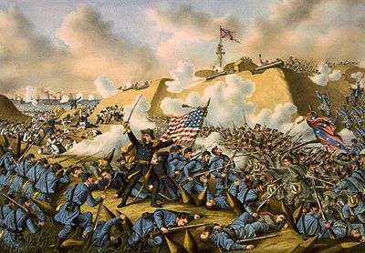 January 15: Union captures Fort Fisher. Battle of Fort Fisher.jpg