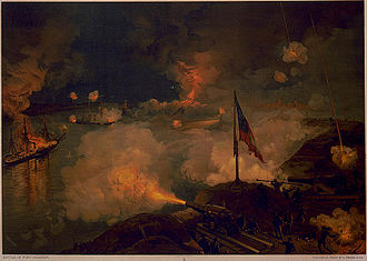 Siege of Port Hudson - Confederate batteries fire down onto Union gunboats on the Mississippi.