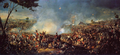 Painting of a bloody battle. Horses and infantry fight or lie on grass.