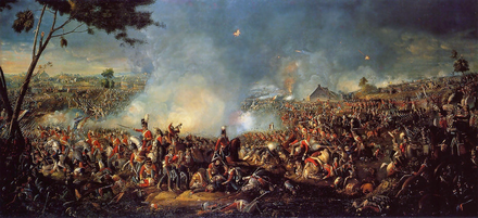 The Battle of Waterloo put a definite end to Napoleon Bonaparte's attempt to return to France and thus secured the Bourbon restoration. Battle of Waterloo 1815.PNG