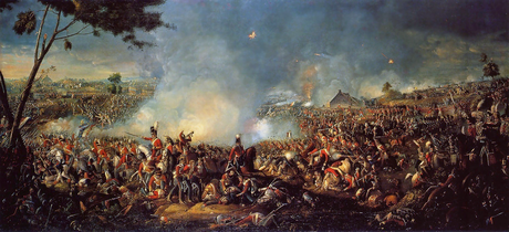 The Duke of Wellington and Field Marshal von Blücher's triumph over Napoleon Bonaparte at the Battle of Waterloo