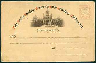 Collotype - Image: Bayerische Landes Industrie , Gewerbe und Kunst Ausstellung Nürnberg 1882, Bildpostkarte, Foto Lichtdruck Johann Baptist Obernetter