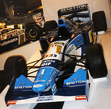 Photo de la nouvelle Benetton B195 exposée au 1996 Autosport International Show