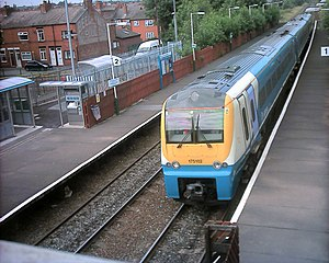 Shotton railway station - View down to a Class 175 standing at Shotton's Low Level platform on the North Wales Coast Line.