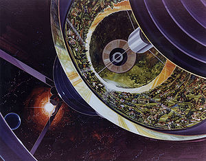 Cutaway view of a space colony.