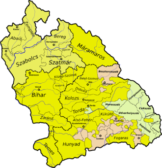 Bihar County - Bihar County (light green, in the western part of the territory) as a part of the Principality of Transylvania during Gabriel Bethlen's rule