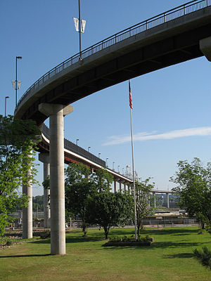 Big Dam Bridge - The Big Dam Bridge as seen from the Arkansas River Trail in Little Rock