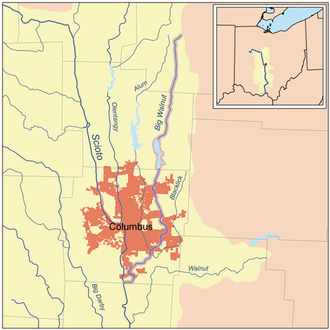 Big Walnut Creek - Map of Big Walnut Creek highlighted within the Scioto River watershed.