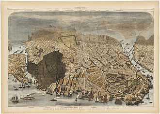 Great Boston fire of 1872 - Bird's-eye view of Boston, showing the burned district.