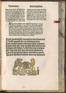 The last page of the 1492 work Revelationes caelestes: mit Vita abbreviata sanctae Birgittae (Celestial Revelations: With a Short Life of Saint Bridget), which features a colophon and a printer's mark