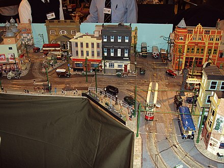 A model of a town with a tram model built into it. Blackburn and East Lancs MRS - 44th annual exhibition - DSC03803.JPG