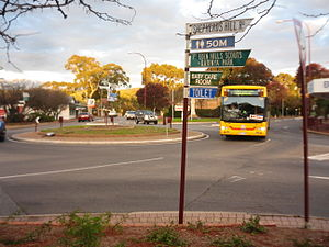 Blackwood, South Australia - B1 train substitute bus at Blackwood roundabout