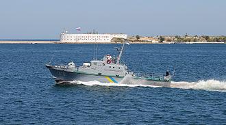 Ukrainian Navy - Ukrainian Navy artillery boat Zhuk class U170 Skadovs'k. Bay of Sevastopol, Crimea.