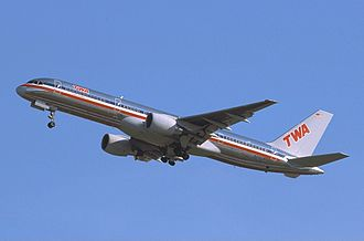 A TWA 757-231 in an AA/TWA Hybrid livery to promote their merger Boeing 757-231, TWA Airlines (American Airlines) AN0200640.jpg