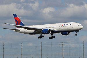 Delta Air Lines fleet - A Delta Air Lines Boeing 777-200ER landing at London's Heathrow Airport