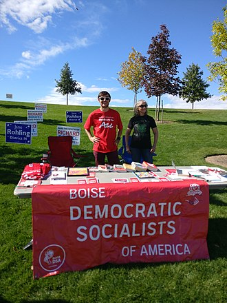 Democratic Socialists of America - Two founding Idahoan DSA members at a big tent event in late September 2018