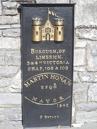 History of Limerick - Borough boundary marker, erected 1842