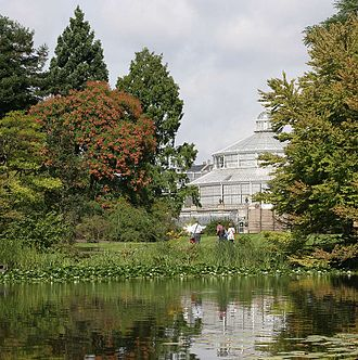 Natural History Museum of Denmark - A view of the Palm House across the lake.