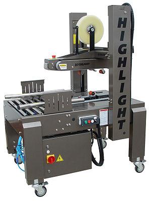 Box-sealing tape - An automatic box-sealing machine.