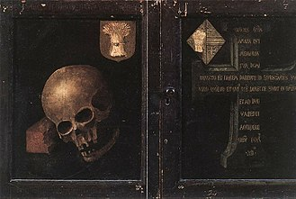 Memento mori - The outer panels of Rogier van der Weyden's Braque Triptych shows the skull of the patron displayed in the inner panels. The bones rest on a brick, a symbol of his former industry and achievement.