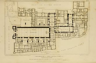Burning of Parliament - Plan of the Palace of Westminster in 1834, showing the position of the House of Lords (in the White Chamber), the House of Commons (in St. Stephen's Chapel), Westminster Hall, the Painted Chamber, the Speaker's House and the Exchequer.