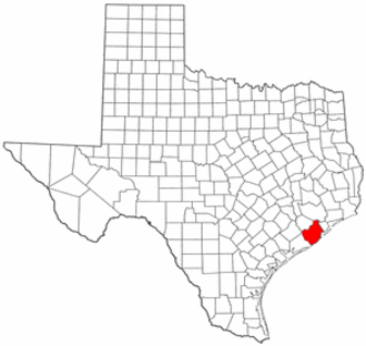 National Register of Historic Places listings in Brazoria County, Texas - Location of Brazoria County in Texas