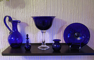 Bristol blue glass - Bristol Blue glassware. The goblet in the centre is 11 inches (28 cm) high.