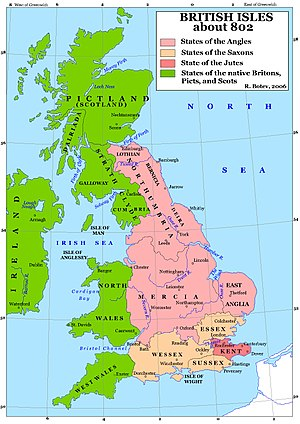 Anglo-Saxons - Map of Britain in 802