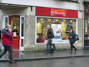 Britannia Building Society - A branch of the Britannia in Gloucester displaying Co-operative branding.