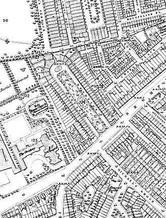 Brompton Square - Brompton Square (centre) on an 1860s Ordnance Survey map