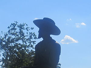 """Charles """"Buffalo"""" Jones - This statue of """"Buffalo"""" Jones is located at the Finney County Courthouse; Jones donated the land for the courthouse and was one of the four founders of Garden City."""