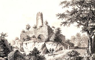 History of Freiburg - Ancestral Castle of the Zähringer in Freiburg-Zähringen.Romantic print of the ruins ca. 1850
