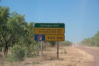 Burke Developmental Road - Start of unsealed portion of northeast-bound Burke Developmental Road east of Karumba